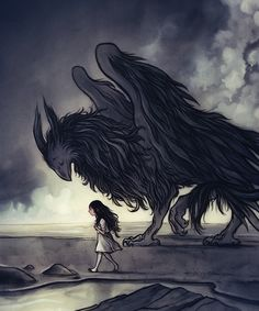Alice and the Gryphon by Corey Godbey on Etsy.