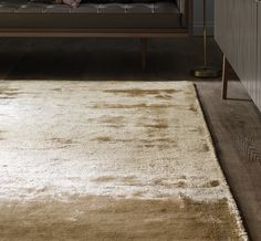 Dolce Gold Rug, constructed from 80% viscose silk and 20% cotton with a beautiful metallic sheen.