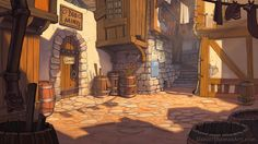 ArtStation - A Playwright's Tale, Daniel Thomas: - Baustil Cartoon Background, Animation Background, Art Background, Landscape Background, Fantasy City, Fantasy Places, Bg Design, Episode Backgrounds, Fantasy Setting