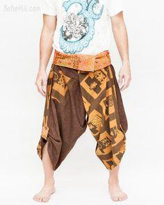 Size M/L Unique Wrap Around Samurai Harem Pants (Brown Chinese Squares)