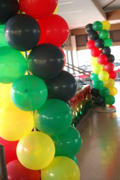 Jah, Rasta, Reggae Balloon Columns | Sweet-Art Designs... Creative ideas from the heart!