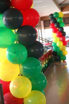 Jah, Rasta, Reggae Balloon Columns | Sweet-Art Designs... Creative ideas from the heart!