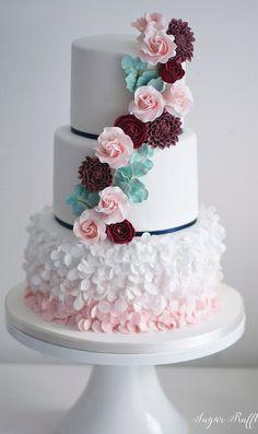 Pink Burgundy Wedding Cake