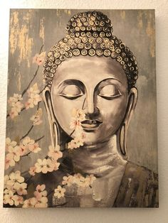 Buddha Canvas Painting on Mercari Buddha Wall Painting, Budha Painting, Buddha Artwork, Buddha Wall Art, Modern Canvas Art, Diy Canvas Art, Acrylic Painting Canvas, Canvas Painting Designs, Buddha Drawing