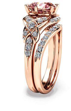 Etsy 14K Rose Gold Engagement Ring Rose Gold Morganite Wedding Rings Set Peach Pink Morganite Engagement