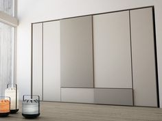 Sectional lacquered wooden wardrobe with sliding doors GRAFIK Swing Collection by Caccaro design Sandi Renko, R Bedroom Cupboard Designs, Wardrobe Design Bedroom, Girl Bedroom Designs, Bedroom Furniture Design, Modern Sliding Doors, Sliding Wardrobe Doors, Wooden Wardrobe, Dressing, Panel