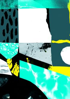 'Elixir' Abstract Collage Design by Tom Abbiss Smith. I think this piece includes a variety of textures, shapes and colour. It is eye catching with the mint green. I like there is a combo of clean cut + ripped edges. The white patch balances the overall piece, it reduces the intensity and its less overwhelming.