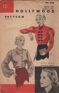 1930s Hollywood 1018  Misses Blouse Pattern Bette Davis womens vintage sewing pattern similar to the blouse she wore in Voyager - bishop, leg-o-mutton sleeves  by mbchills