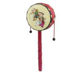 Amazon.com: Como Red Embossed Dragon Pattern Chinese Traditional Rattle Drum Music Toy: Toys & Games