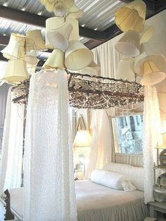 Bed spring canopy.  would be awesome for a shabby chic WEDDING too!