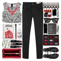 """""""Valentines Day"""" by sarahkatewest ❤ liked on Polyvore featuring Forever 21, rag & bone/JEAN, ASOS, Miu Miu, Ray-Ban, Case Scenario, MAC Cosmetics, Mead, Smashbox and Illamasqua"""