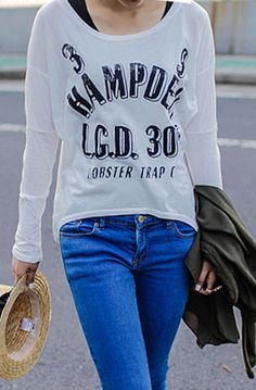 #SheInside White Long Sleeve Batwing Letters Print T-Shirt