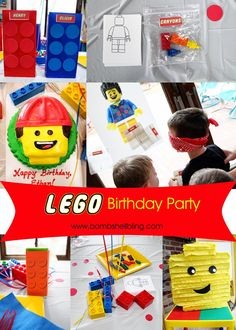 This Lego Birthday Party is full of amazing ideas for your Lego fanatic! You'll see how to make lego crayons, a lego pinata, a Lego cake, activities for the party and there are free printables for you to use. Lego Movie Party, Lego Themed Party, Lego Birthday Party, 6th Birthday Parties, Boy Birthday, Birthday Ideas, Lego Decorations, Diy Party, Party Ideas