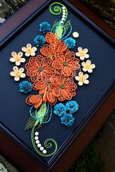 Ayani art: Quilling in Orange and Blue Flowers