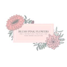 Clipart with pink blush flowers, clipart, hand drawn, lineart, pink, flowers doodle, vector flowers #flowers #doodles #pinkblush