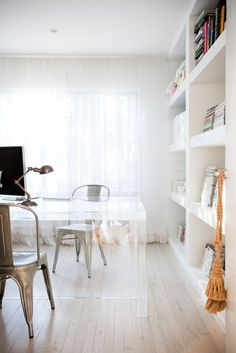 metal chairs + lucite table