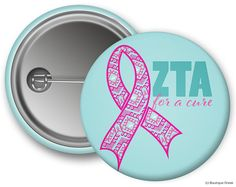 ZTA Zeta Tau Alpha For A Cure Ribbon Think Pink Sorority Greek Button on Etsy, $1.75:  AUTISM AMP??