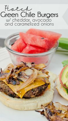 Hatch Green Chile Burgers with Cheddar Cheese, Caramelized Onions and ...
