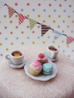 Fairy Garden Miniature Tea Set, Setting for Fairies, Dollhouse Miniature Tea by HelloLittleCloud on Etsy https://www.etsy.com/listing/197414246/fairy-garden-miniature-tea-set-setting