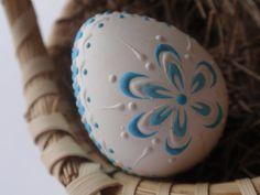 Quail Egg Pysanka in Blue Wax Embossed Easter Egg by EggstrArt