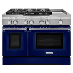 Kitchenaid 48-In 7-Burner 4.1-Cu Ft / 2.2-Cu Ft Double Oven Convection Dual Fuel Range (Cobalt Blue) Kdrs483vbu