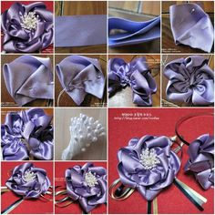 How to make Satin Ribbon Flower Brooch step by step DIY instructions, How to, how to make, step by step, picture tutorials, diy instructions, craft, do it yourself