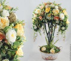 """Купить Топиарий  """"Spring rose"""" Интерьерное дерево с нестандартной кроной. - комбинированный, интерьерное дерево"""