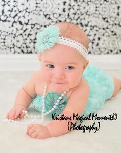 Aqua Lace Romper...Sale..ruffle romper....Baby Bloomers..newborn photography prop....perfect for Babys first birthday