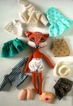 Купить Лисичка, игровая текстильная кукла с набором одежды, НА ЗАКАЗ - рыжий, текстильная кукла
