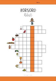 Korsord med höst-tema by Rebeckas klassrum Dot To Dot Printables, Sweden, Back To School, Preschool, Education, Kids, Teacher, Multiplication, Pictures