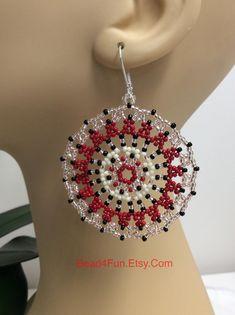 Seed Beaded Earrings Mandala Earrings Name: Timeless Red | Etsy