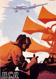 ILUSTRACIONES. Defensa contra la aviación (1938). Carles Fontseré. (Carteles de la guerra civil española)