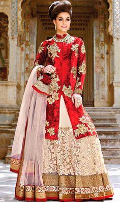 USD 157.39 Red Net Indo Western Lehenga Choli 42916
