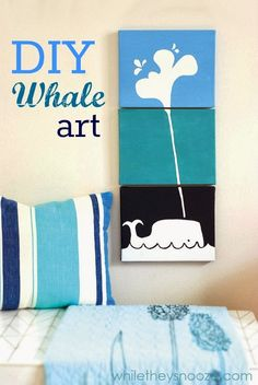 DIY Whale Art perfect for a nursery or child's room from @Whitney Anne They Snooze