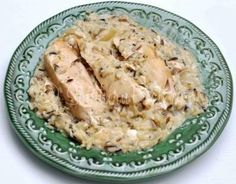 crock pot wild rice chicken - use homemade gravy instead of cream soup; try cooking rice in crock pot from beginning?