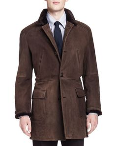 Brunello Cucinelli Shearling Fur-Lined Suede Jacket