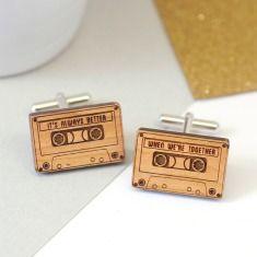Personalised wooden cassette cufflinks