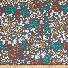 Art Gallery Indelible Floret Stains Mulberry from @fabricdotcom  Designed by Katarina Roccella for Art Gallery, this cotton print fabric is perfect for quilting, apparel and home decor accents. Art Gallery Fabric features 200 thread count of finely woven cotton. Colors include orange, teal, aqua, ocre and white on a grey background.