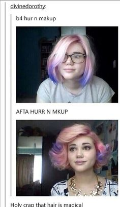 She looks like Ms. Peregrine with pink hair<<< and she looks like Mallory Everton with pink hair in the before pic
