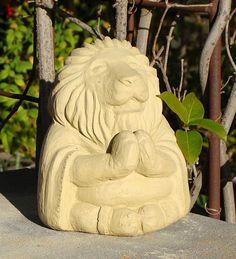 USA-Made Cast Stone Meditating Lion | Garden Statuary