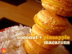 Coconut + Pineapple Macarons: Nut-free toasty coconut macarons filled with tart pineapple curd!