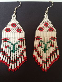 Native Beaded Floral Pattern Dangle Earrings Red by ThriftyEarth, $25.00