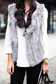 Grey fur vest with black leather booties