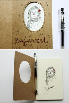 RapunzelbyHeidi Burton  Altered Moleskine journal illustrating the folktale 'Rapunzel' as recorded by the Brothers Grimm.