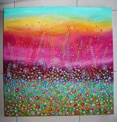 "New!  Acrylics and glitter on canvas ""Sunburst""...76 x 76 x 3cm $450"