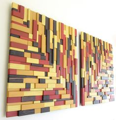 "Rustic Modern Wall Art, Reclaimed Wood Wall Art, ""Autumn Leaves"". $1,200.00, via Etsy."
