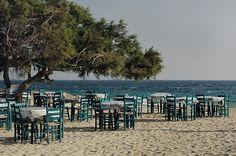 impromptu taverna on the beach, Naxos, Greece