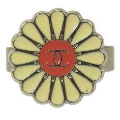 Chanel Vintage CC Logos Silver Ring