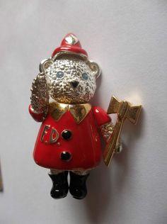 Vintage Napier Firefighter Fireman Bear Pin Brooch Movable body #napier