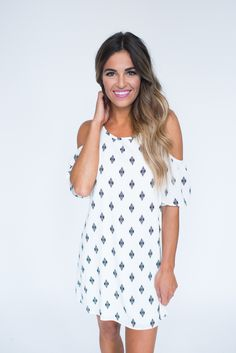 Ivory Printed Open Shoulder Dress - Dottie Couture Boutique